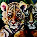 composition--Tiger cubs--oil on canvas100x80cm.-2005