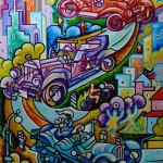 Composition--Cars--mixed technics, canvas--200x150cm