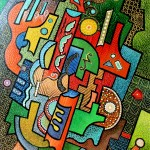 composition--Abstract #4--mixed technic on canvas 100x80cm.