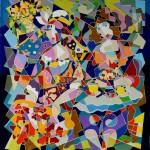 Composition--Cafe --mixed technics on canvas 110 x 100 cm.