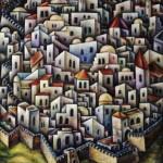 Composition -Jerusalem- mixed technics on canvas 111 x90 cm.