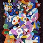 Composition --Temptress -- mixed technics on canvas 110 x 90 cm.