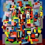 Composition--Musizians --mixed technics on canvas 98x 90cm.