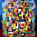 Composition--Woman with jugs --mixed technics on canvas 98x 90cm.