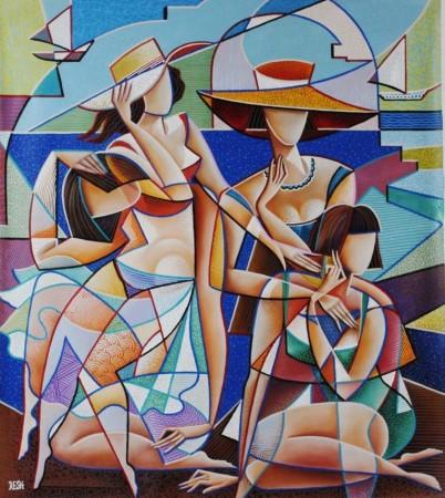 --Womens on  the  Beach--mixed  technics  on  canvas  111x99cm.