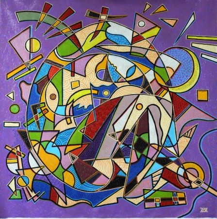 -- Colorful  musical  composition # 5--mixed  technics  on  canvas  99x 99cm.